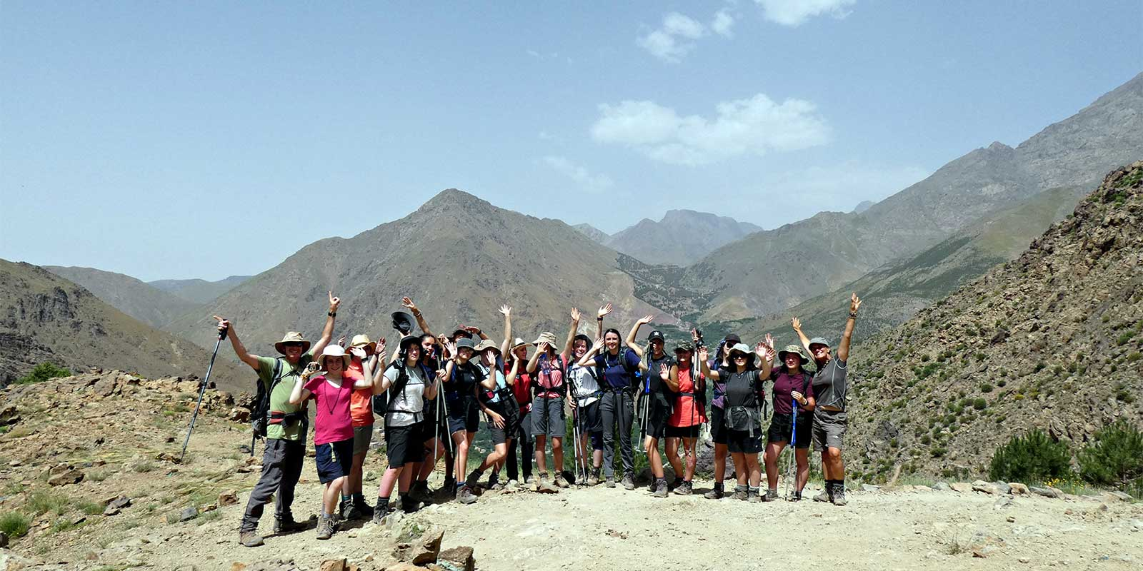 School group at the summit of a mountain in the Atlas Mountains of Morocco
