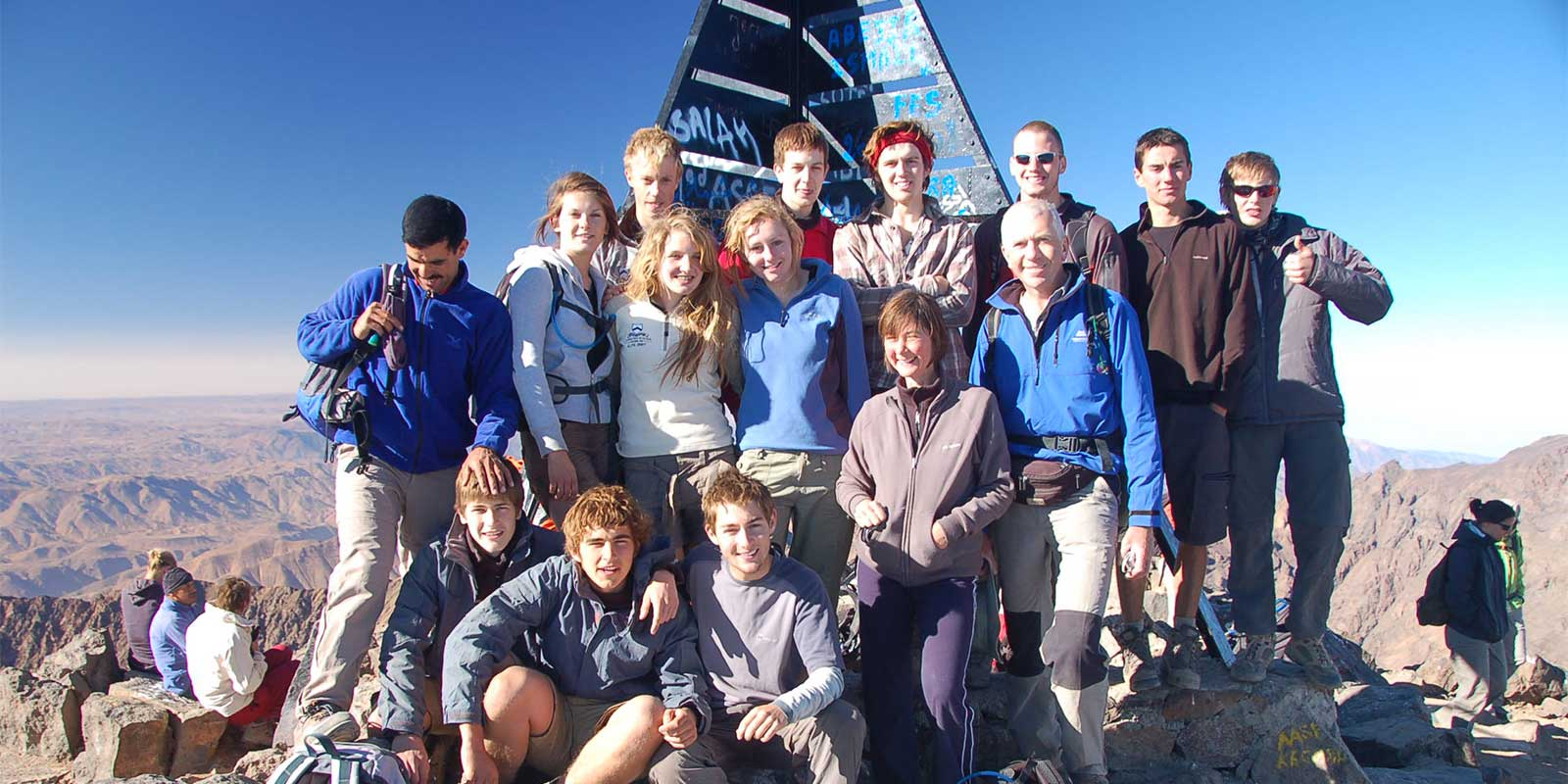 School group at the summit of Mount Toubkal
