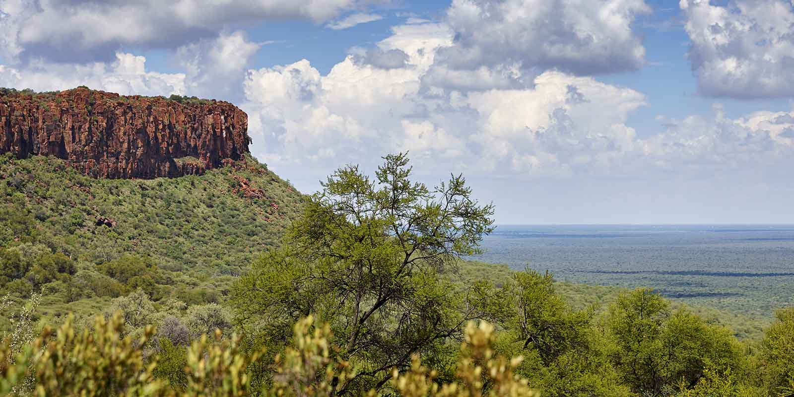 Wiew from Waterberg Plateau looking out over the grassy plains