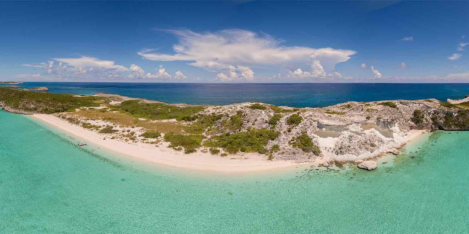 Panorama of beach in Bahamas
