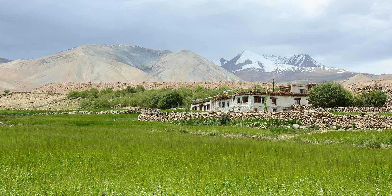 Picturesque Tibetan village in mountainous valley in Ladakh