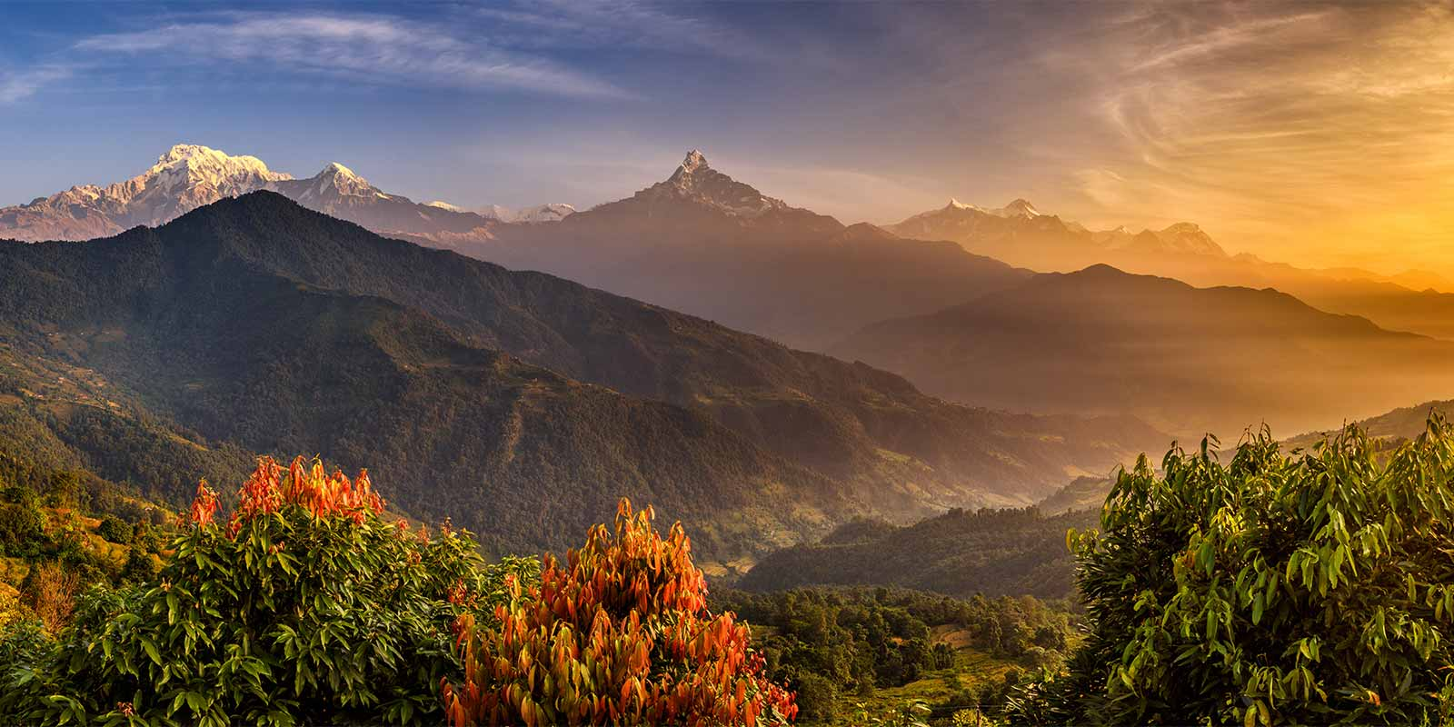 Sunrise and autumn colours in the Himalayas
