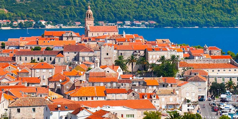 View of Croatian town on Adriatic coast