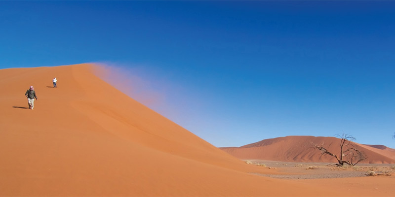 Descending dune at Sossusvlei in the Namib desert.