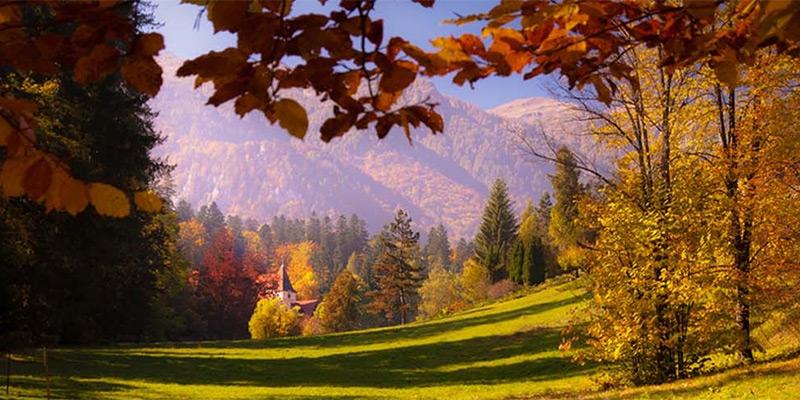 Mountainous Transylvanian valley in autumn