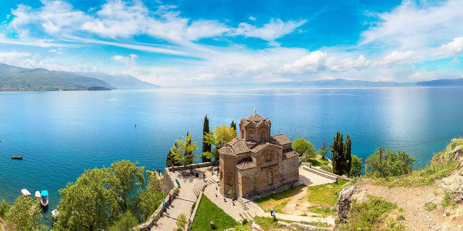 Jovan Kaneo church on promontory overlooking lake in Ohrid Macedonia