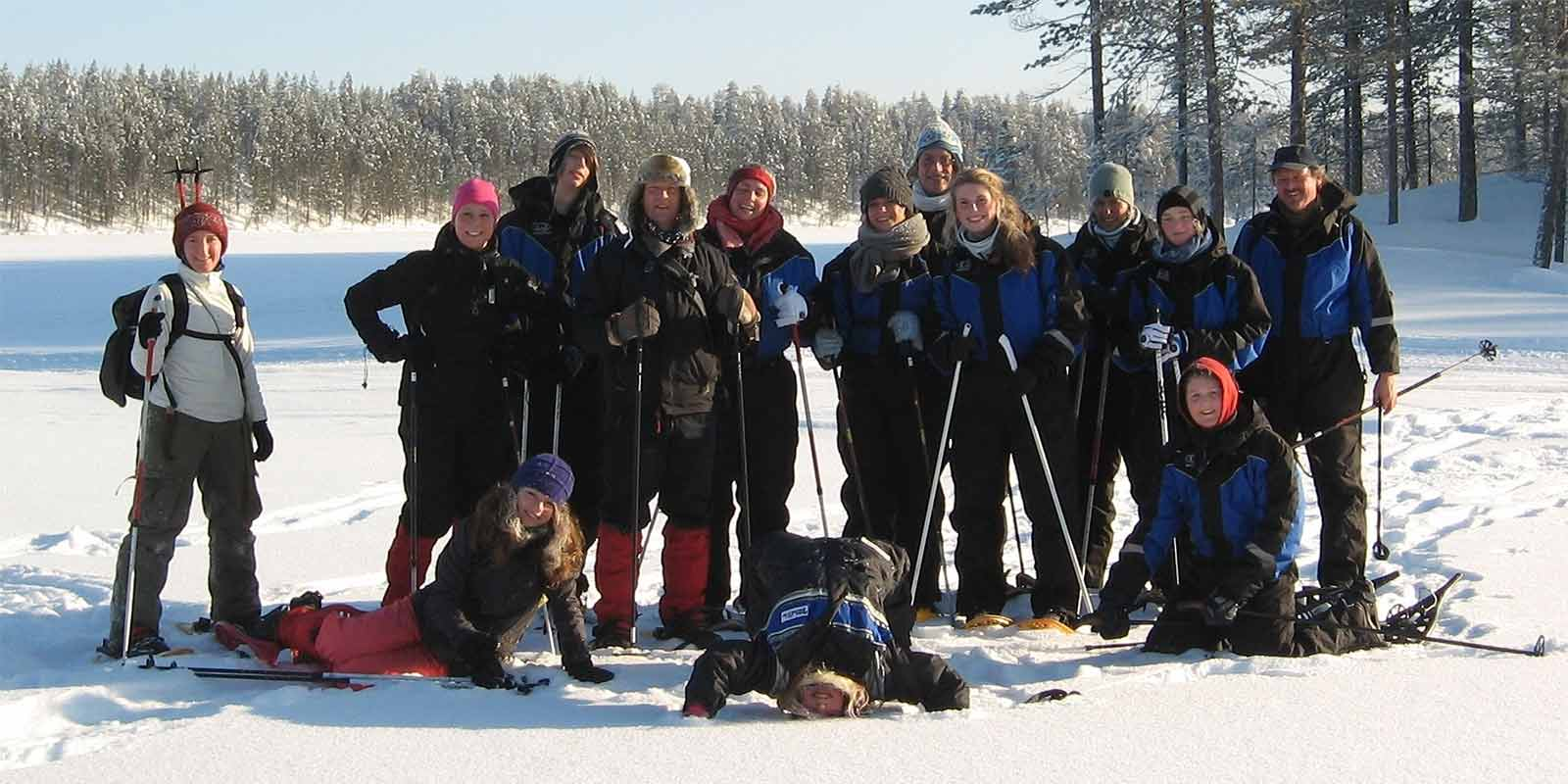 Cross country skiing group in Finland