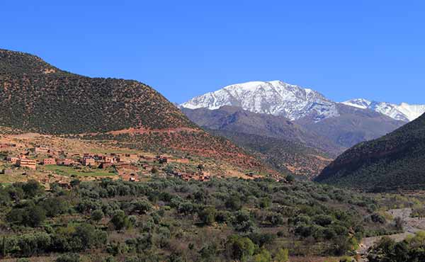 Snow-covered peaks of Toubkal National Park in High Atlas Mountains