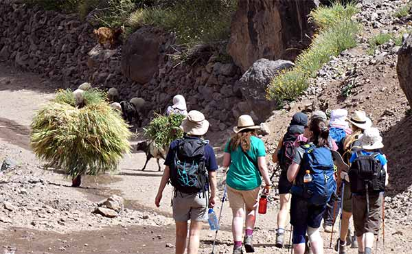 School group hiking in the Atlas mountains of Morocco