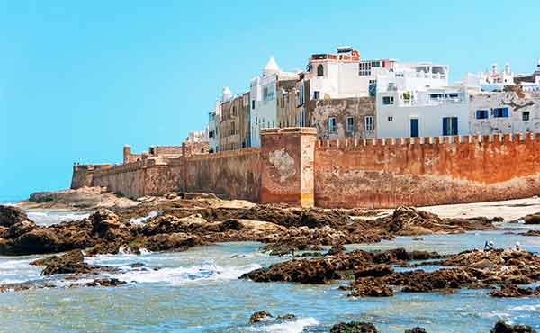 Rocky coastline and ancient city walls of Essaouira