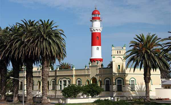 Swakopmund lighthouse and colonial German architecture