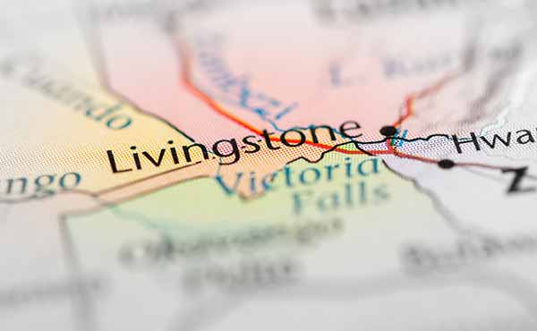 Map highlighting Livingstone and Victoria Falls