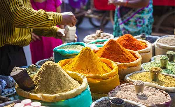 Colourful spice market in Delhi