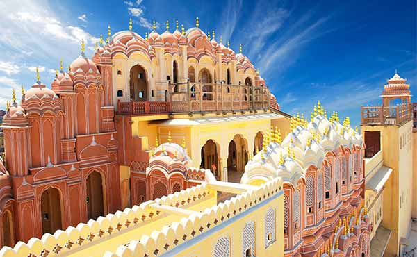 Top of the colourful Palace of the Winds
