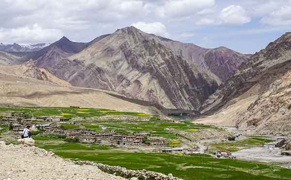 Picturesque Tibetan village in mountainous valley in Ladakh