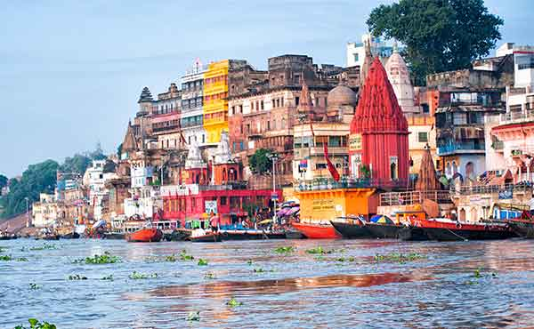 View of Varanasi and ghats from the River Ganges