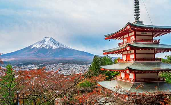 View of Mount Fuji with Chureito Pagoda in foreground