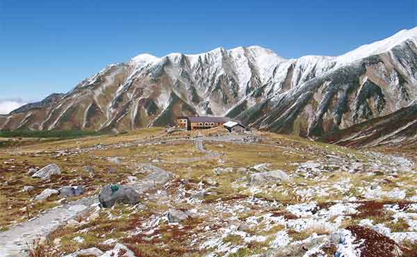 Tateyama Murodo mountain in the Japanese Alps, with mountain hut
