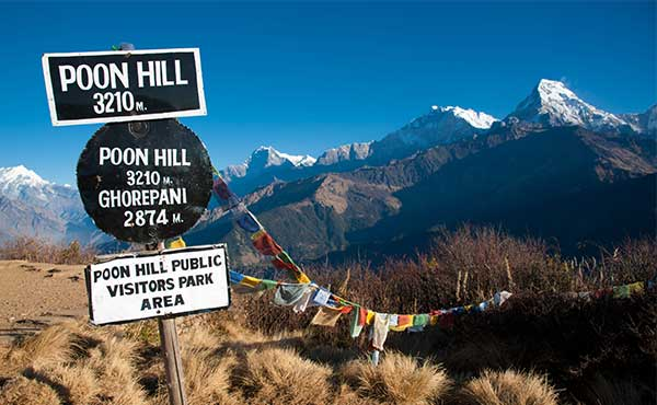 Altitude sign at Poon Hill with Annapurna mountain peaks in the background