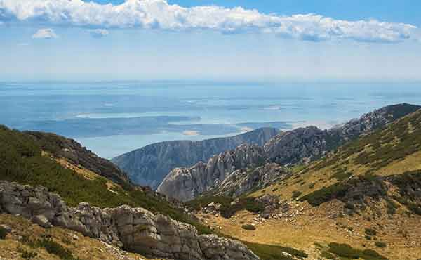 View from Velebit Mountains looking out to sea