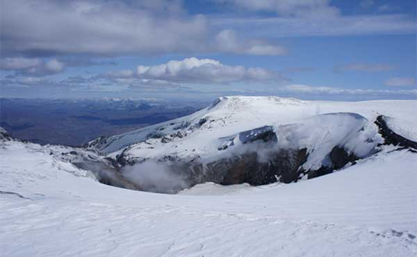 Eyjafjallajokull volcano in Iceland covered in snow