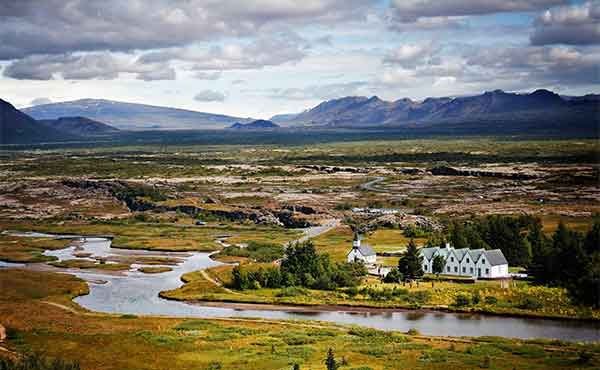 View of the plains and streams of Thingvellir National Park