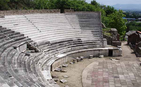 Heraclea ampitheatre archaeological ruins in Bitola