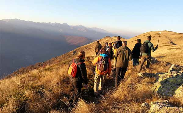 Group of young people hiking in Mavrovo National Park Macedonia